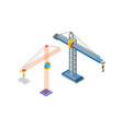 crane industrial machine steel tower hook icons vector image