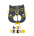 cute cartoon cat face print childish print for vector image vector image