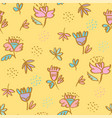 cute pale color folklore style floral pattern vector image