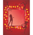 dancing girls on red backdrop vector image vector image