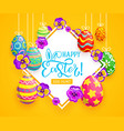 easter eggs bunny ears and spring flower vector image vector image