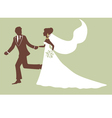 Elegant bride and groom running vector image vector image