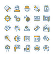 engineering and manufacturing icon set in thin vector image vector image
