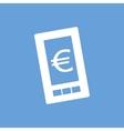 Euro phone white icon vector image vector image