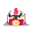 excited drummer playing hard rock music vector image