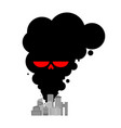 exhaust gases from city black smoke skull vector image