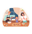 family cooking pizza mother daughter bake dinner vector image vector image