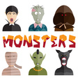 flat design monsters icons vector image