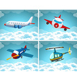 Four scenes of airplane flying in the sky vector image vector image