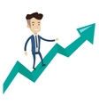 Happy businessman standing on profit chart vector image vector image