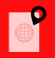 international passport template with gps location vector image vector image