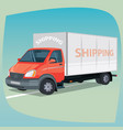 isolated box truck with closed body vector image vector image