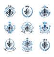 lily flowers royal symbols emblems set heraldic vector image