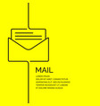 mail banner in a linear style on a vector image