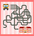 maze game template with school bus vector image