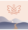 Meditation on a background of nature mountain vector image vector image