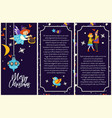 merry christmas posters with couple and cupid vector image vector image