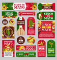 mexican cinco de mayo holiday gift tag and label vector image vector image