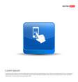 mobile phone icon - 3d blue button vector image