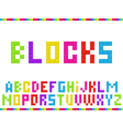 Multicolored blocks alphabet vector image