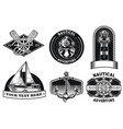 nautical badge design set vector image vector image