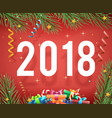 new year 2018 symbol icon confetti ribbons vector image vector image