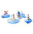 people engage winter sport active recreation set vector image