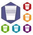 plastic office waste bin icons set hexagon vector image vector image