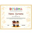 Preschool Kids Diploma certificate template vector image vector image