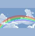 rainbow in cloudy sky graphics horizontal vector image
