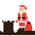 santa claus is on the roof with gifts vector image