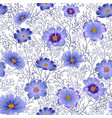 seamless floral background with beautiful blue vector image