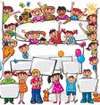 set kids standing behind placard vector image vector image