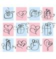 set love valentines day heart and gift vector image vector image