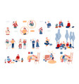 set male and female characters using gadgets vector image vector image