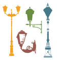 set of colorful street lanterns-4 vector image
