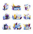 shopping online concept isolated abstract icons vector image vector image
