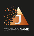 silver letter j logo symbol in the triangle shape vector image vector image