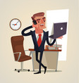 successful smiling happy businessman character vector image