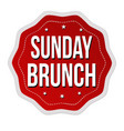 sunday brunch label or sticker vector image vector image