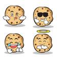 sweet cookies character cartoon of set vector image vector image