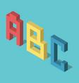 Three isometric abc letters