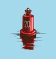 warning red buoy at river banks vector image vector image