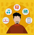 young man on social media vector image vector image