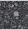 Winter season doodle symbols seamless pattern vector image