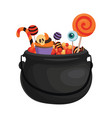 a halloween bucket with bat wings filled vector image