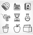 a set of black and white school icons vector image