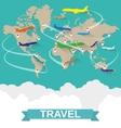 Airplanes map with routes vector image
