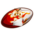 Angry face on rugby ball vector image