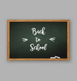 back to school text on chalkboard vector image vector image